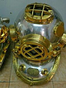 "Antique Diving Divers Helmet US Navy Mark V vintage Marine Sea Silver Helmet 18"""