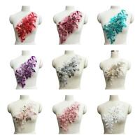 3D Flower Embroidery Lace Applique Beaded Pearl Tulle DIY Bridal Wedding Dress