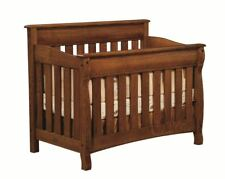 Amish Solid Wood Conversion 3 in 1 Baby Crib Toddler Bed Castlebury Nursery