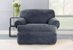Stretch Plush Two Piece T-Chair Slipcover storm blue new