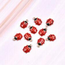 10pcs/set Mini Ladybug Enamel Charm Earring Necklace Pendant Accessory 8*11cm
