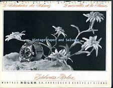 1945 Rolex Watch Company Edelweiss-Rolex Vintage Swiss Print Ad Suisse Schweiz