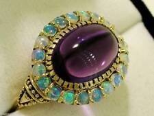 C970  SUPERB 9K Solid Gold Natural AMETHYST & OPAL Cluster Ring in your size