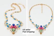 Fashion Rhinestone gem crystal statement bib necklace