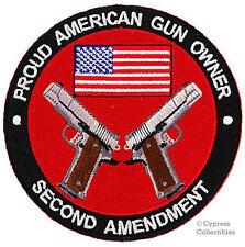 PROUD AMERICAN GUN OWNER iron-on PATCH 2nd AMENDMENT 1911 PISTOL HANDGUN M1911A