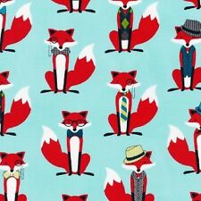 Fat Quarter Fox and The Houndstooth Aqua Cotton Quilting Fabric Robert Kaufman