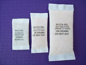 SILICA GEL 20 x MIXED WEIGHT SACHETS COLOUR CHANGE FOR CAMERAS LENS etc