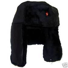 WINTER RUSSIAN COSSACK TRAPPER HAT Mens Medium black fur Ushanka Soviet badge