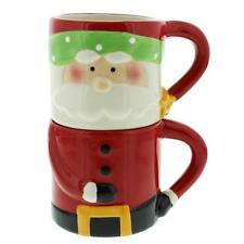 Set of 2 Novelty Santa Suit Stacking Christmas Mugs
