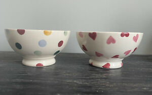 Emma Bridgewater French Bowls Hearts And Polka Dots Spots X 2 (cutlery Marks)
