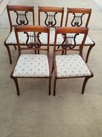 5 DUNCAN PHYFE WOOD DINING SIDE CHAIRS