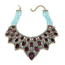 Heidi Daus Many Shades of Fabulous 3-Row Bib Aqua Necklace SOLD OUT ON HSN $650!