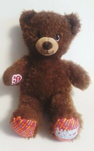 Build a Bear Happy Birthday Plush Brown Teddy Red Rainbow Confetti Candles BABW