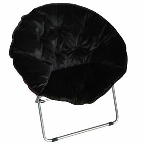 Zenithen Round Chair with High Gloss Silver Frame in Black Tufted Velvet Fabric