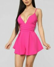 Deep V Neck Stretchy Back Zipper Sexy Pink Fuchsia Mini Romper Extra Small XS