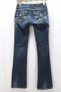 medium wash distressed ROCK REVIVAL Heather boot cut jeans stretch denim 25 x 33