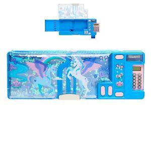 Smiggle Far Away Pop Out Pencil Case with calculator unicorn blue glitter girls