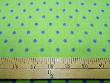 1 yard Blue Dots on Green  Fabric