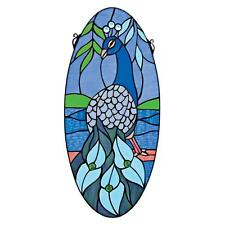 """24"""" Vibrant Peacock Cabochons & Hand Crafted Stained Glass Oval Window Panel"""