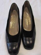 Womens Ferragamo Pumps Black Suede Black Leather Italy Size 6B Oxford Toe Design