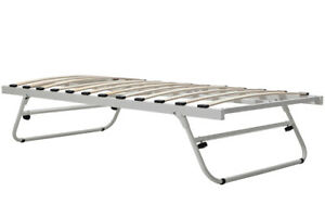 White Metal Trundle Bed Guest Bed Fold Out Put Up Bed Single Size