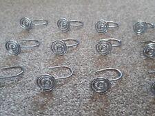 Chrome Shower Curtain Hooks - 12 Pieces