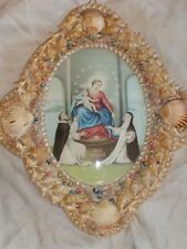 VINTAGE CONVEX GLASS FOLK ART SEASHELL FRAME MADONNA CHRIST RELIGIOUS PRINT