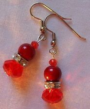 Fashion Earrings Red Crystal and Rhinestone Spacer Beads Drop Dangle