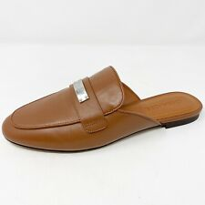New $195 Coach US 8 Brown Leather SHEA Mules Slip On Flats