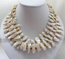 """Beautiful 18"""" 3strands 20mm White baroque Freshwater Pearl Crystal Necklace"""