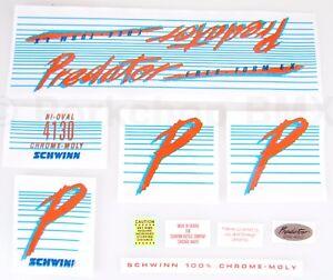 Officially licensed 1985-86 Schwinn Predator FREE FORM EX BMX decal sticker set