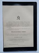 QUESNOT Mortreuil FAIRE PART Duteurtre BOULET Rouen 1896