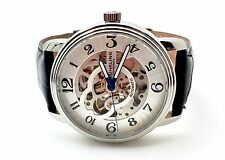 Stuhrling Caliber ST-90050 Watch Black Leather Band Fashion Men's Designer