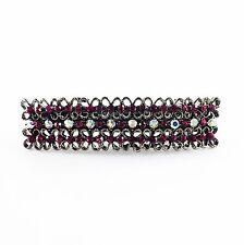 USA BARRETTE Rhinestone Crystal Hairpin Clip Vintage Elegant Simple Black Pink
