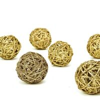 """6 pcs 3"""" Gold Glittered Twig Rattan Ball Ornaments Wedding Party Vase Fillers"""