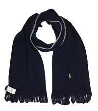 POLO Ralph Lauren Scarf 100% Merino Wool Fringe Embroidered Pony Navy NWT $65