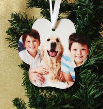 Paw Print Pet Memorial Christmas Ornament - 2 Sided Custom Photo w/ Ribbon