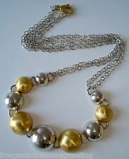 Modern Italian sterling silver & brushed silver gilt necklace