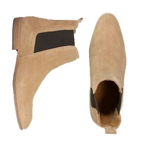 Handmade Mens beige Chelsea boot, Men beige ankle suede leather sole boot