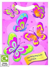 GIRLS PINK BUTTERFLY BIRTHDAY PARTY BAGS RECYCLABLE LOOT TREAT FAVOUR GOODY BAG