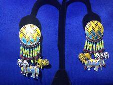 Cloisonne 925 Sterling Silver Enamel Earrings Elephant Zebra Lion Safari Tribal
