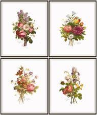 """Set of 4 Jean-Louis Prévost Print Reproductions Bouquets, Unframed 8 x 10"""""""