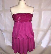 Fushia Pink Strapless Dress From Mango
