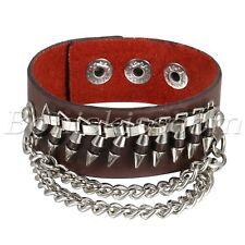 Men's Gothic Punk Rock Wide Leather Bullet Chain Wristband Bracelet Bangle Cuff