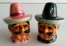 Early Vintage Mexican Cowboys Salt & Pepper Shakers Hand painted North Dakota
