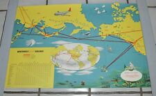 1950's International Routes Map Stratocruiser Northwest Airlines Poster Superb!