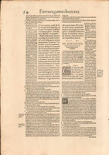 EARLY PRINTED LEAF/PAGE: 1548 Excesses of Pope John XXII by Hugo of Porto FOLIO