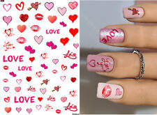 Nail Art Water Decals Transfer JaLDecal - Heart Lips Love Valentines Hearts Pink