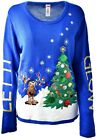 Women's Goofy REINDEER TREE Holiday Party Ugly Christmas Xmas Sweater Sz XL A916