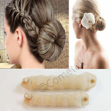 2Pcs Magic style Hot Buns Hair Styling Doughnut Bun Maker Tool Ring Shaper Blond